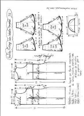 Esquema de modelagem de vestido vintage com babado na barra tamanho 36.