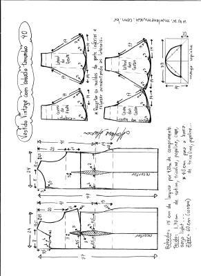 Esquema de modelagem de vestido vintage com babado na barra tamanho 40.