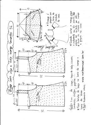 Esquema de modelagem de blusa com alça e meia manga tamanho 56.