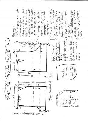 Esquema de modelagem de short com pregas tamanho 56.
