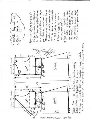 Esquema de modelagem de vestido drapeado com pregas tamanho 56.