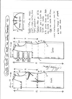 Esquema de modelagem de vestido tubinho com decote nas costas e manga copinho tamanho 40.