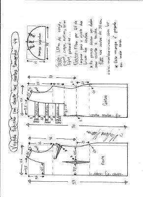Esquema de modelagem de vestido tubinho com decote nas costas e manga copinho tamanho 44.