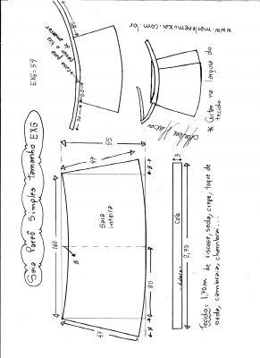 Esquema de modelagem de saia envelope simples tamanho EXG.