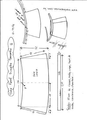 Esquema de modelagem de saia envelope simples tamanho G.