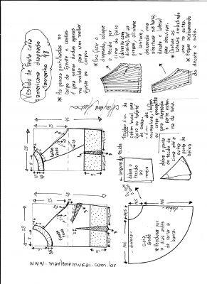 Esquema de modelagem de Vestido de festa cava americana tamanho 48.