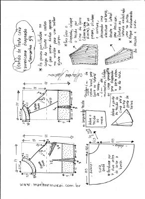 Esquema de modelagem de Vestido de festa cava americana tamanho 54.