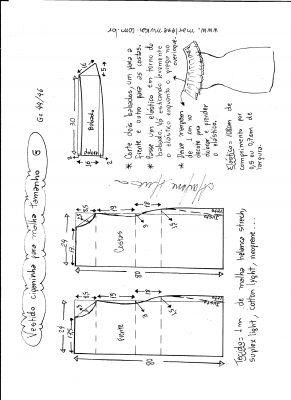 Esquema de modelagem de vestido ciganinha para malha tamanho G.