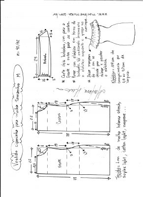 Esquema de modelagem de vestido ciganinha para malha tamanho M.