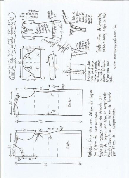 Esquema de modelagem de vestido pólo com babado na barra tamanho 42.