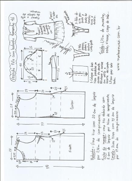 Esquema de modelagem de vestido pólo com babado na barra tamanho 46.