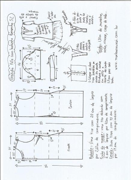 Esquema de modelagem de vestido pólo com babado na barra tamanho 52.