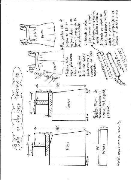 Esquema de modelagem de bata com alça larga e babado tamanho 40.