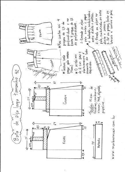 Esquema de modelagem de bata com alça larga e babado tamanho 42.