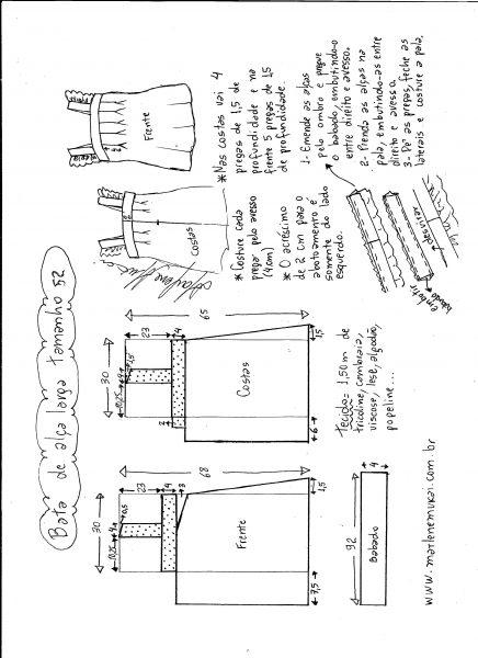Esquema de modelagem de bata com alça larga e babado tamanho 52.