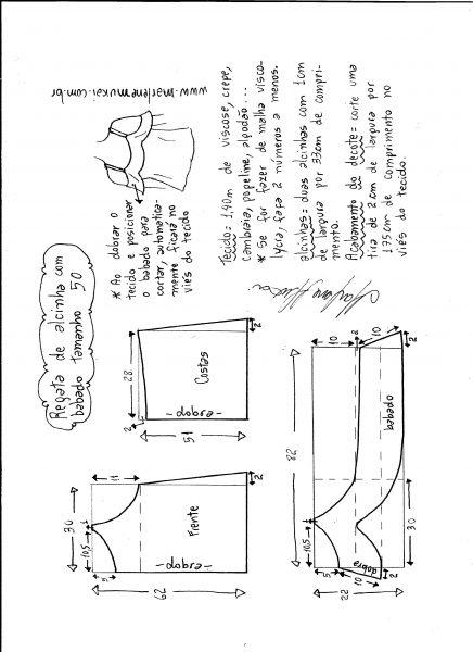 Esquema de modelagem de regata de alcinha com babado tamanho 50.