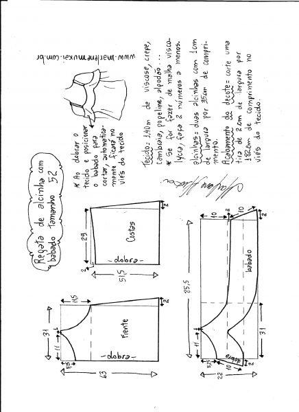 Esquema de modelagem de regata de alcinha com babado tamanho 52.