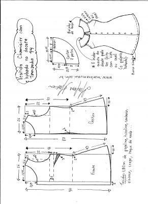 Esquema de modelagem de vestido chamesier com babado tamanho 44.