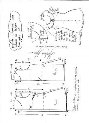 Esquema de modelagem de vestido chamesier com babado tamanho 56.