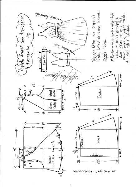 Esquema de modelagem de vestido evasê com transpasse tamanho 40.
