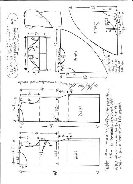 Esquema de modelagem de vestido de festa com sobreposição tamanho 44.