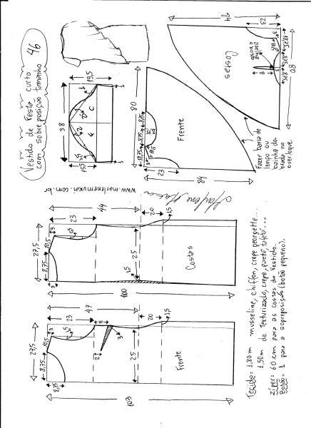 Esquema de modelagem de vestido de festa com sobreposição tamanho 46.