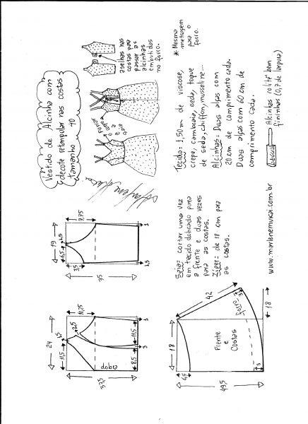 Esquema de modelagem de vestido de alcinha e decote costas tamanho 40.