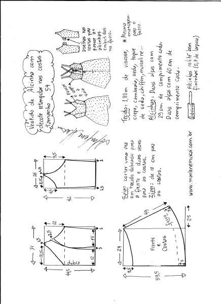 Esquema de modelagem de vestido de alcinha e decote costas tamanho 54.