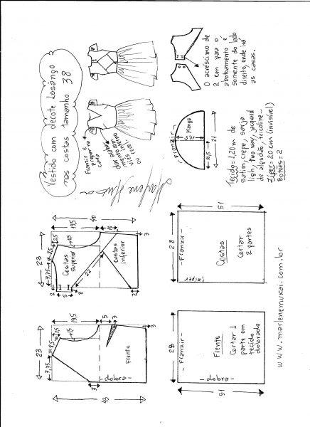 Esquema de modelagem de vestido com decote losango nas costas tamanho 38.