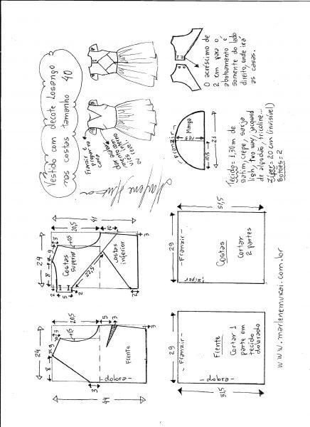 Esquema de modelagem de vestido com decote losango nas costas tamanho 40.