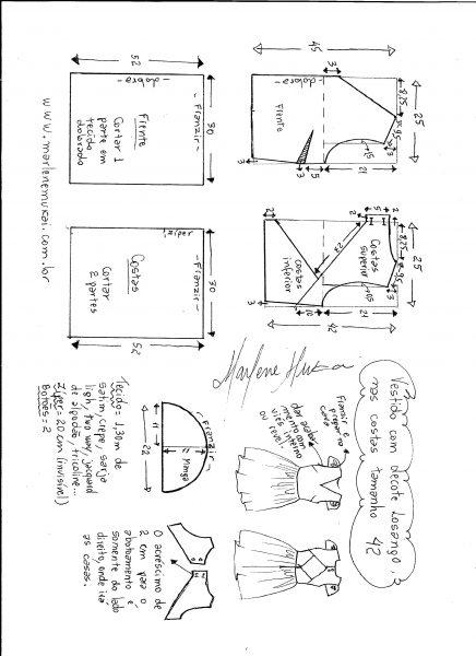 Esquema de modelagem de vestido com decote losango nas costas tamanho 42.