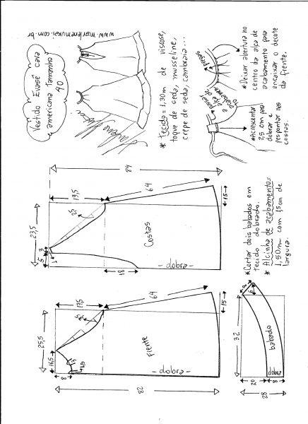 Esquema de modelagem de Vestido cava americana evasê tamanho 40.