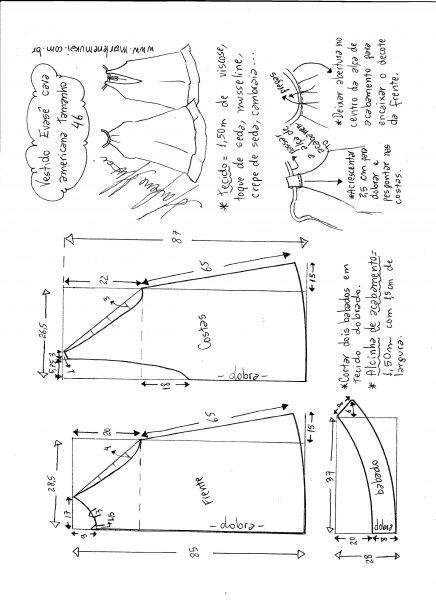 Esquema de modelagem de Vestido cava americana evasê tamanho 46.