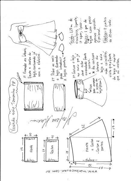 Esquema de modelagem de vestido de malha tomara que caia tamanho PP.