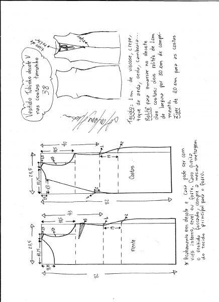 Esquema de modelagem de vestido tubinho com decote nas costas tamanho 38.