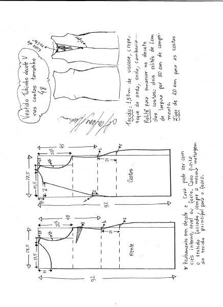 Esquema de modelagem de vestido tubinho com decote nas costas tamanho 48.