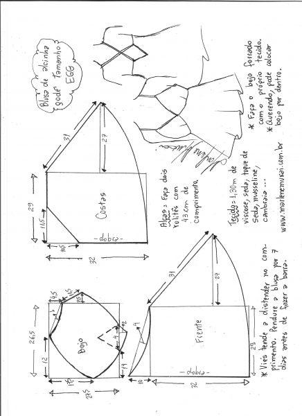 Esquema de modelagem de blusa de alcinha godê tamanho EGG.