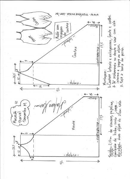 Esquema de modelagem de macacão saruel indiano M.