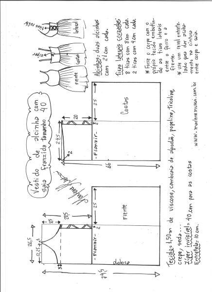 Esquema de modelagem de vestido de alcinha saia franzida tamanho 40.