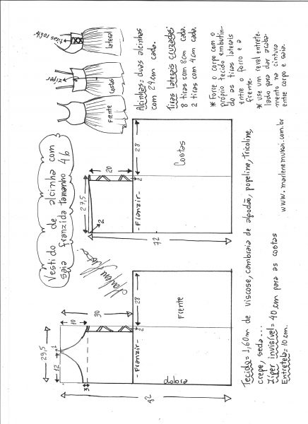 Esquema de modelagem de vestido de alcinha saia franzida tamanho 46.
