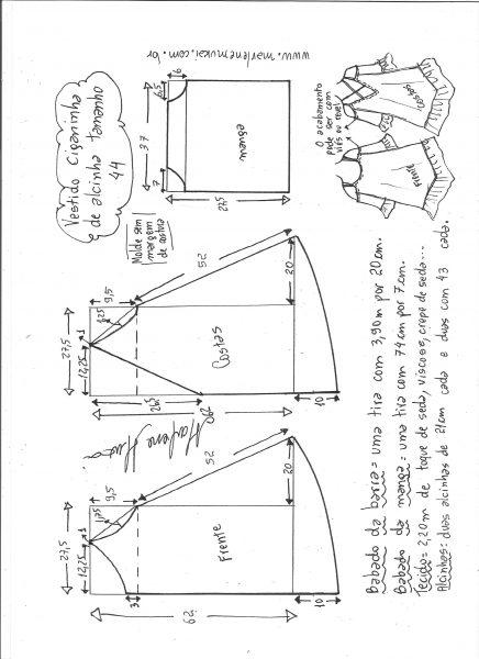 Esquema de modelagem de vestido ciganinha de alcinha tamanho 44.