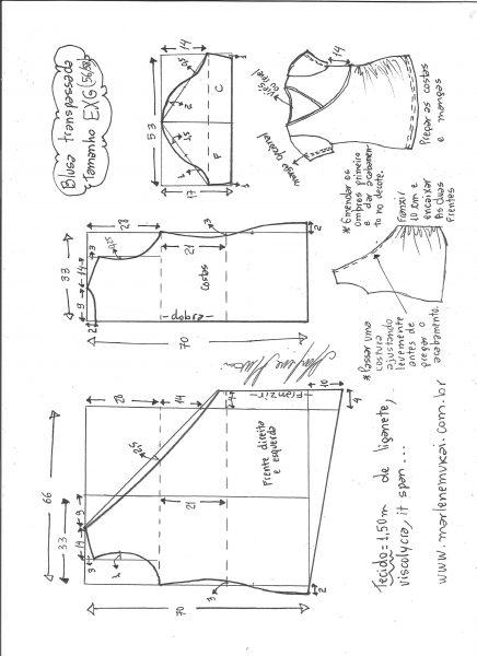 Esquema de modelagem de blusa transpassada de malha tamanho EXG.