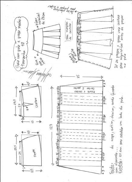 Esquema de modelagem de saia com pala e pregas macho tamanho 48.