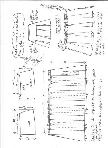 Esquema de modelagem de saia com pala e pregas macho tamanho 50.