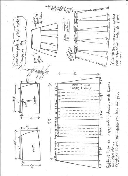 Esquema de modelagem de saia com pala e pregas macho tamanho 54.