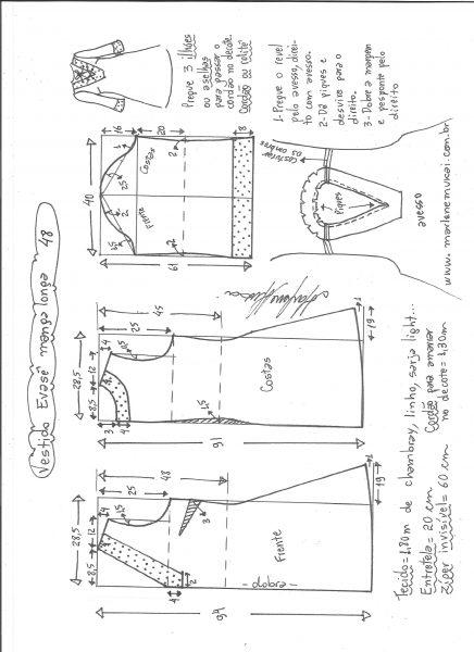 Esquema de modelagem de vestido evasê manga longa tamanho 48.