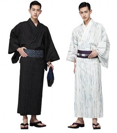 Esta mesma modelagem pode ser usada para fazer uma yukata masculina. O que muda é a faixa na cintura que é mais estreita (10 cm) e posicionada um pouco mais abaixo da linha da cintura.