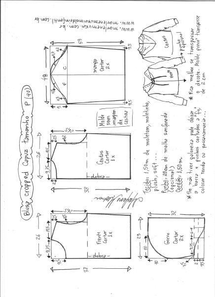 Esquema de modelagem de blusa cropped com capuz tamanho P.