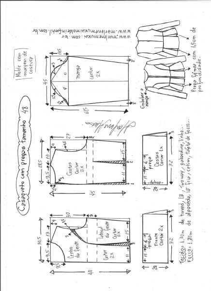 Esquema de modelagem de casaqueto com pregas tamanho 48.