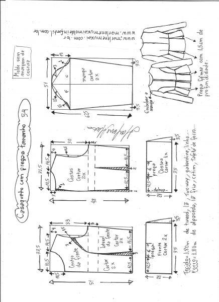 Esquema de modelagem de casaqueto com pregas tamanho 54.